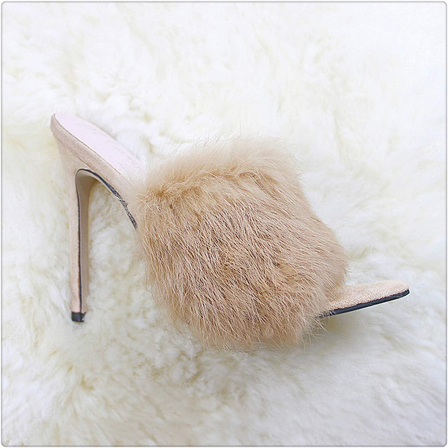 HANGGE& 2019 Fur Women's Pumps Heels shoes High Heel Slippers Women Big Large Size Pointed Toe Ladies Female Slides Fashion Woman shoes Brown 9.5