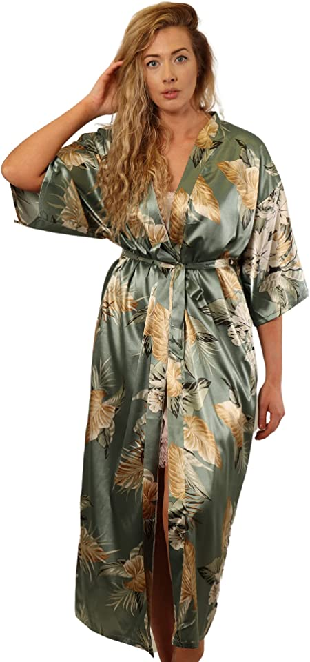 Kimono Dressing Gowns for Women UK- Kimono Women's Robes -Long Satin Silk Pyjamas for Women -Japanese Kimono Robes for Women -Floral Feather Bridal Robe Lightweight Summer Dressing Gown