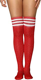 Women's Girls Stripe Diamond Glitter Over The Knee High Stockings Boot Socks