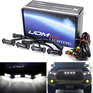 iJDMTOY 4pc Set Smoked Lens Front Grille Lighting Kit For 2016-up Toyota Tacoma w/TRD Pro Grill ONLY, Includes (4) 4-SMD 6000K White LED Light Assy & Wiring Harness
