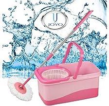 Joyo Plastic Bucket Mop 360 Degree Rotating Head Hands-free Spin (Colour May Vary)