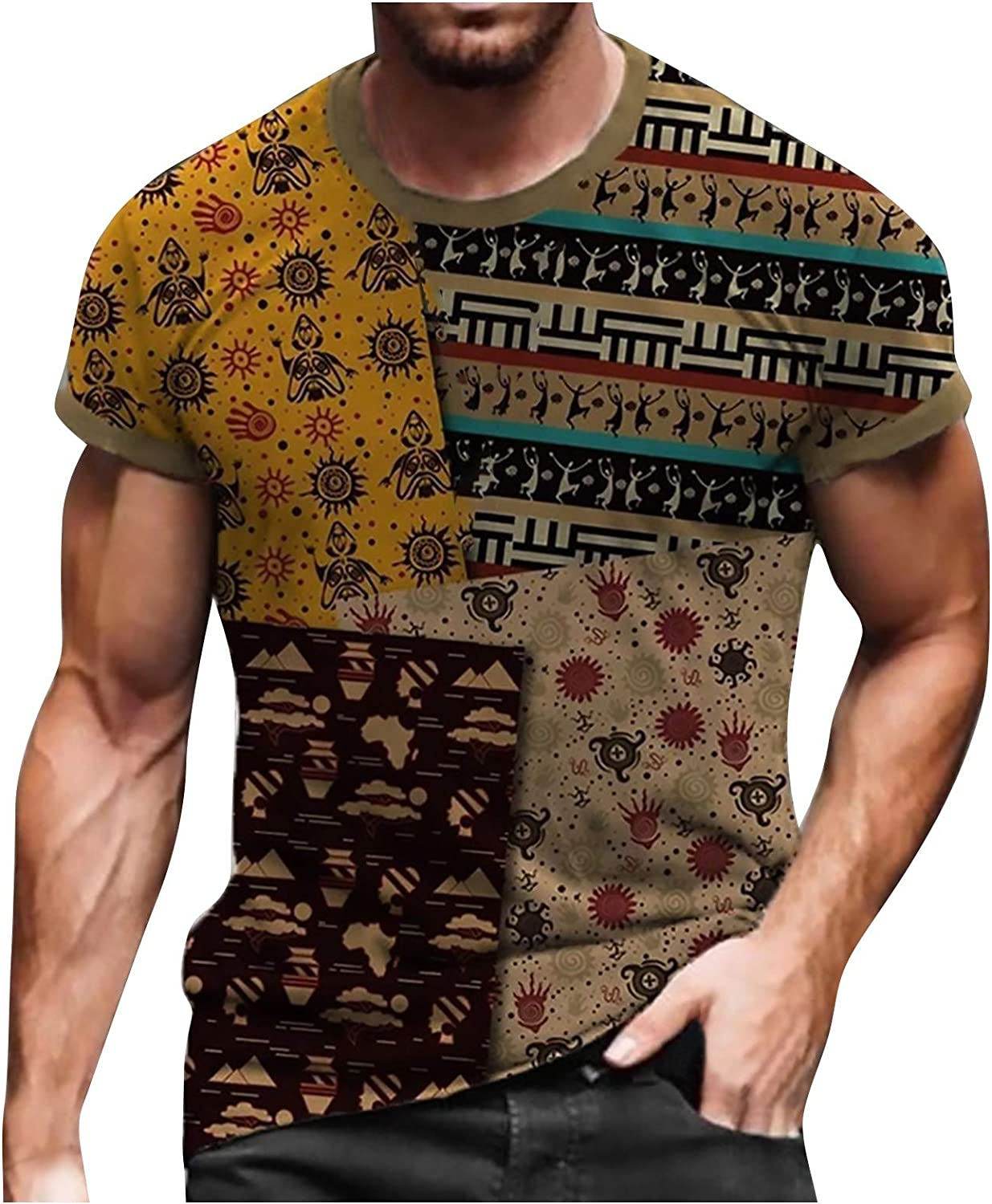 Mens T-Shirts,Cool Novelty Design Graphic T-Shirts for Guys Hipster Hip Hop T-Shirt Crewneck Tee for Men