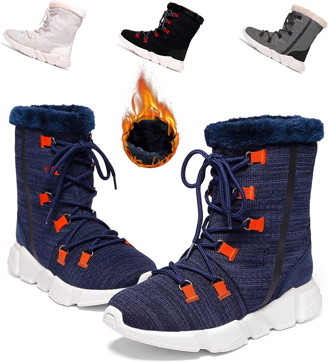 KUULAND Boy's Girl's Snow Boots Women's Waterproof Winter Boots Lightweight Warm Fur Lined shoes