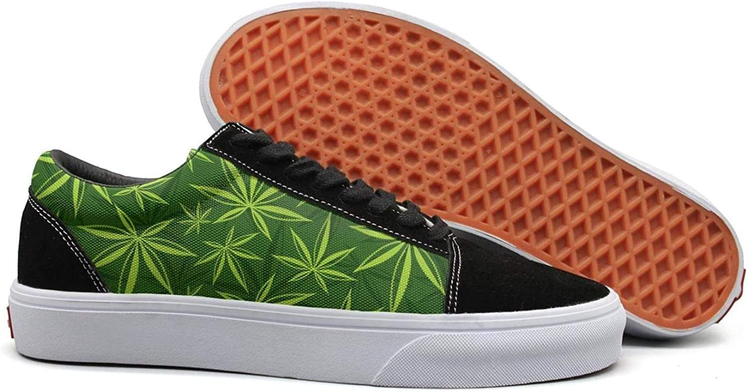 Uieort Cannabis Weed Marijuana Leaf Womens Lace up Canvas shoes Rubber Sole