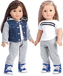 DreamWorld Collections - Tomboy - 4 Piece Outfit - Clothes Fits 18 Inch American Girl Doll - Jeans Jacket, Grey Sweatpants, T-Shirt Boots. ( Dolls Not Included)