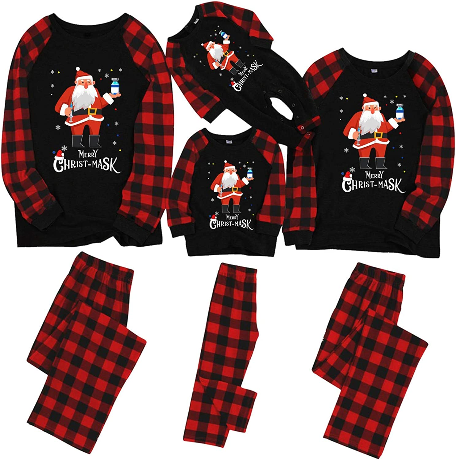 AODONG Christmas Pajamas for Family Plus Size Set Matching Christmas Women Sexy Jumpsuit Long Sleeve V Neck Bodysuit Bodycon Overall Romper Summer Pajamas Sleepwear Pjs Set