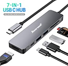 Hiearcool USB C Hub, MacBook Pro Adapter USB C Dongle, 7 in 1 USB C to HDMI Multiport Adapter Compatible for USB C Laptops Nintendo and Other Type C Devices (4K HDMI USB3.0 SD/TF Card Reader 100W PD)