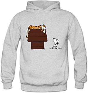 Geek Calvin And Hobbes Tiger On Doghouse Snoopy Women's Hoodie Sweater Ash