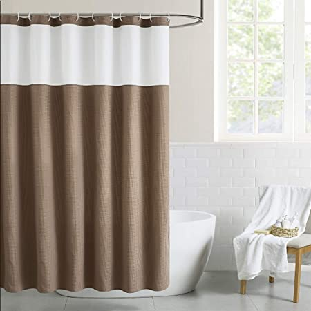 Bedsure Fabric Shower Curtain Brown Waffle Weave Shower Curtain for Bathroom Waterproof Bathroom Curtain with 12 Hooks Machine Washable 72x72 Inch