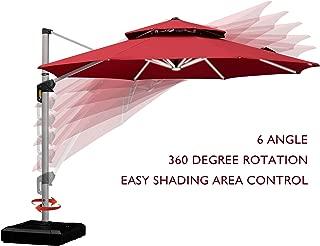 PURPLE LEAF 11 Feet Double Top Deluxe Solar Powered LED Round Patio Umbrella Offset Hanging Umbrella Outdoor Market Umbrella Garden Umbrella, Terra