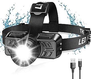 Cocoda Linterna Frontal Led USB Recargable, Zoomable Luz y 4 Modos de Luz de 90° Ajustable Linterna de Cabeza, Impermeable...