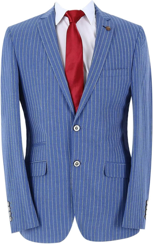 Men's Pinstripe Slim Fit Classic Formal Business Blue Suit 2 Piece Wedding Dinner Business Set