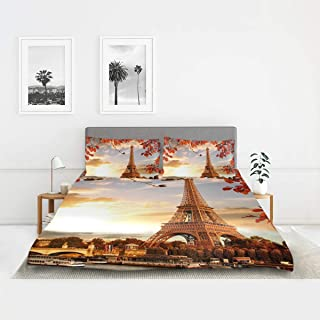 XMCL Autumn France Paris Eiffel Tower Duvet Cover Cotton Lightweight Cozy Twin Size Bedding 3 Piece Set