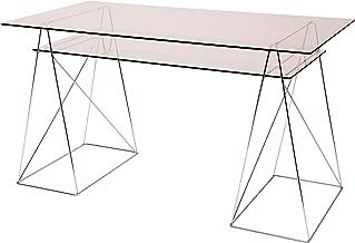Eurosilla Office - Juego de 2 cristales, 130 x 70 y 11 3x 51cm. Color transparente, para mesa de diseño para oficina o escritorio