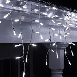 70 M5 LED Cool White Icicle Lights Outdoor Christmas Icicle Lights, 7' on White Wire, White Wedding Lights Party Bedroom Cool White Christmas Lights (M5 Lights, Cool White)