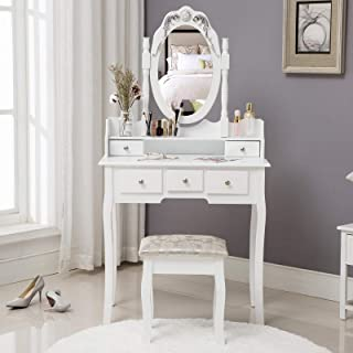 Unihome Vanity Table - Dressing Table with Mirror and Stool - Small Dressing Table Set with 5 Drawers - White Bedroom Makeup Table for Women