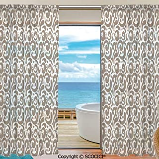 SCOCICI Shutters Sheer Tier Curtains for Kitche,Bedroom,Casual Weave Window Curtain,2 Panels,Art,Swirled Curved Bold Lines Brushstrokes Big and Little Polka Dots Circular Abstract,Cocoa White