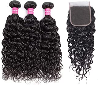 Brazilian Water Wave Bundles with Closure 100% Virgin Wet and Wavy Human hair Weave Bundles with Closure Free Part 9A Ocean Wave Human Hair Natural Color (12 14 16+12, water)