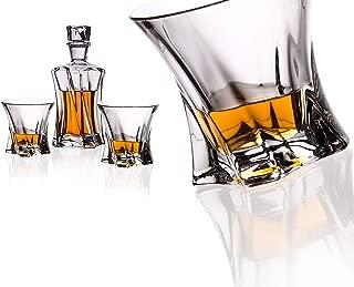 Czech Bohemian Crystal Glass Whiskey Set 1+6 Decanter 21oz. + 6 Glasses 10oz. Heavy Base Rocks Old Fashioned Style Glasses Bourbon Scotch Vodka Brandy Elegant Cooper Design Classic Crystal Glass