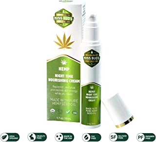 Miss Bud's Organic Hemp Night Time Nourishing Cream, Paraben Free, Sulfate free, GMO free
