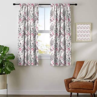 Mozenou Eiffel, Thermal Insulating Blackout Curtain, Artistic Composition Floral Landmark Notre Dame Cathedral Bicycle Air Balloon, Curtains Kitchen Window, W72 x L63 Inch Rose Black White