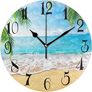WellLee Palm Trees Hawaiian Tropical Seashore Beach Clock Acrylic Painted Silent Non-Ticking Round Wall Clock Home Art Bedroo