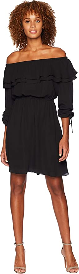 Short Sleeve Ruffle Peasant Dress