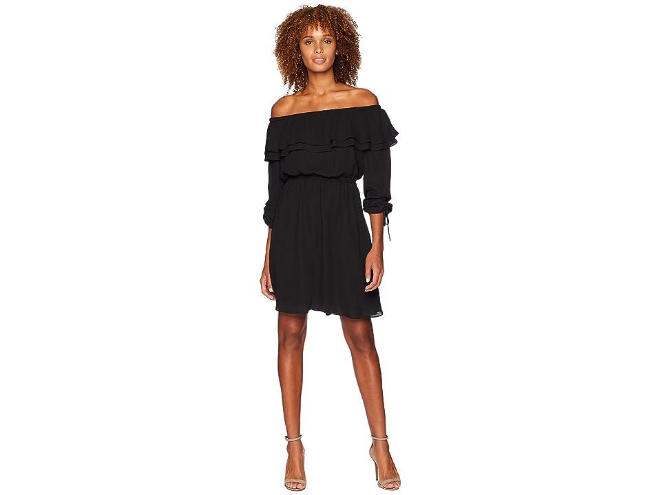 MICHAEL Michael Kors Short Sleeve Ruffle Peasant Dress (Black) Women