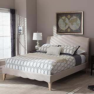 Baxton Studio Fannie French Classic Platform Bed in Beige (Queen: 100.02 in. L x 62.99 in. W x 47 in. H)