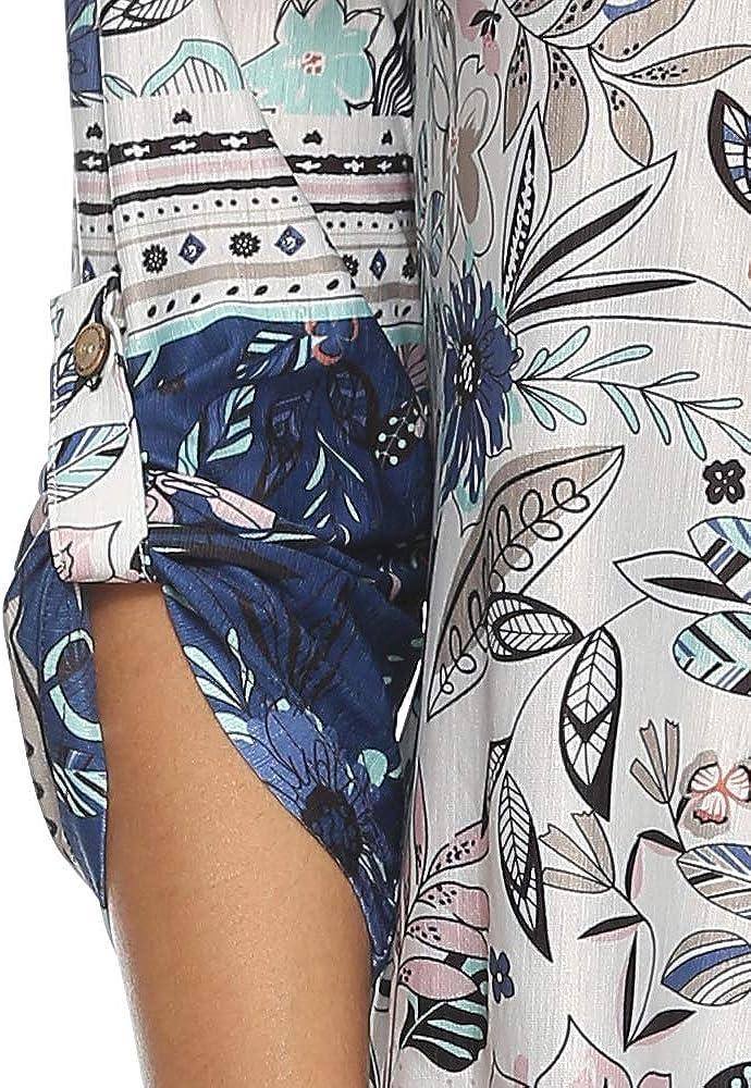 Kranda Womens Floral Printed Tunic Shirts 3/4 Roll Sleeve Notch V Neck Tunic Tops
