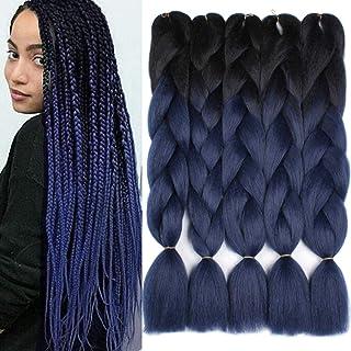 Xtrend 5Pcs 24 Inch Ombre Jumbo Braiding Hair 2 Tone Afro Braiding Hair Extensions 24 Inch Synthetic Hair for Braiding 100...