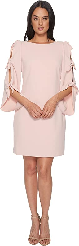 Tie Bell Sleeve Crepe Ponte Dress