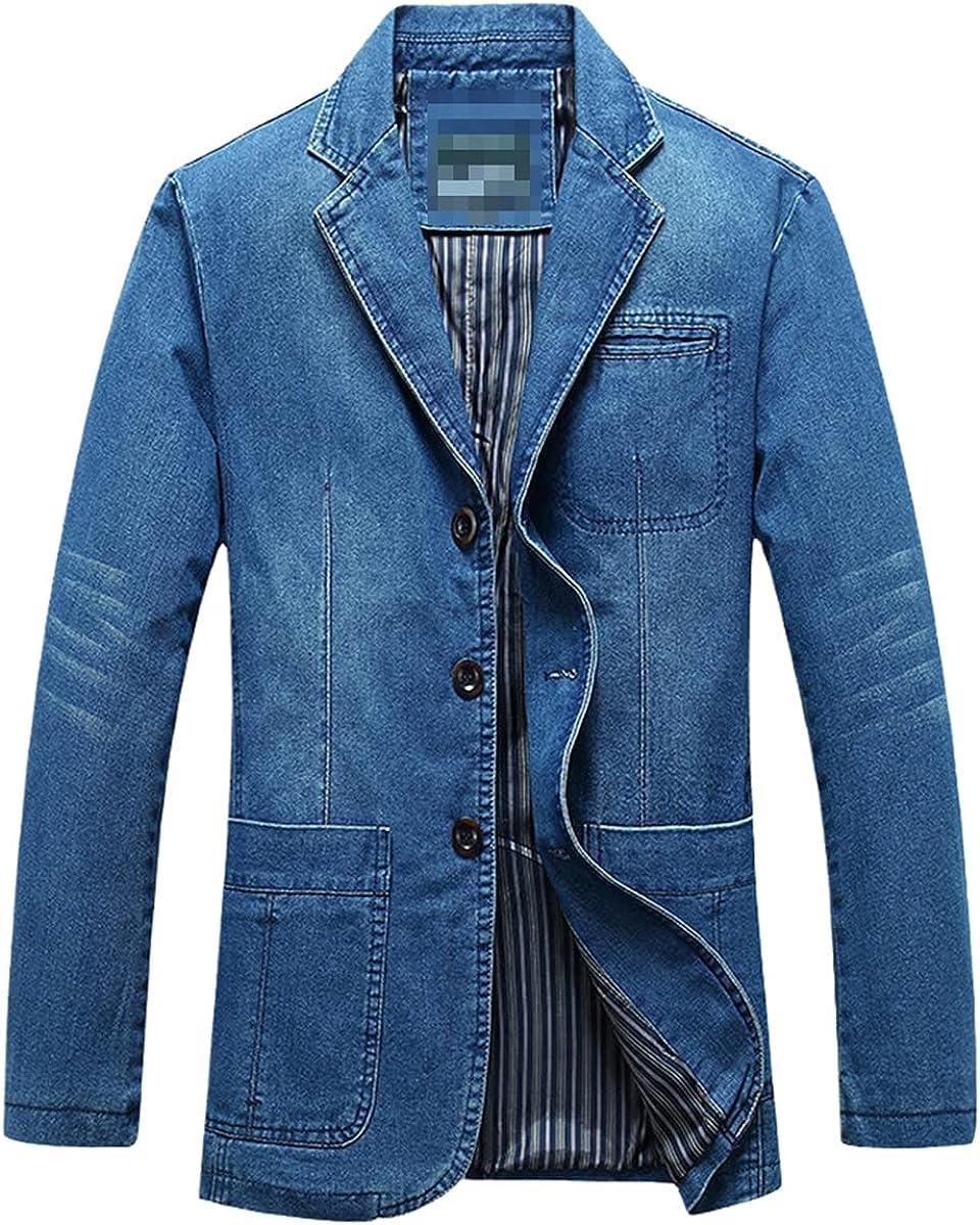 DFLYHLH Men's Denim Suit Jacket Fashiona blazere Cotton Retro Suit Jacket blazerue Jacket Denim Jacket