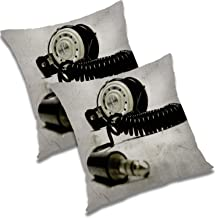RADANYA Headphones 3D Printed Polyester Cushion Cover Set of 2 Pcs - 18x18 Inch, Ivory