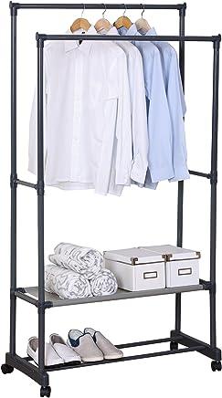 WOLTU SR0022 Kleiderständer Garderobenständer mit Dem Ablage, 83x39x161cm, Wäscheständer auf Rollen, mit Schuhregal, Grau