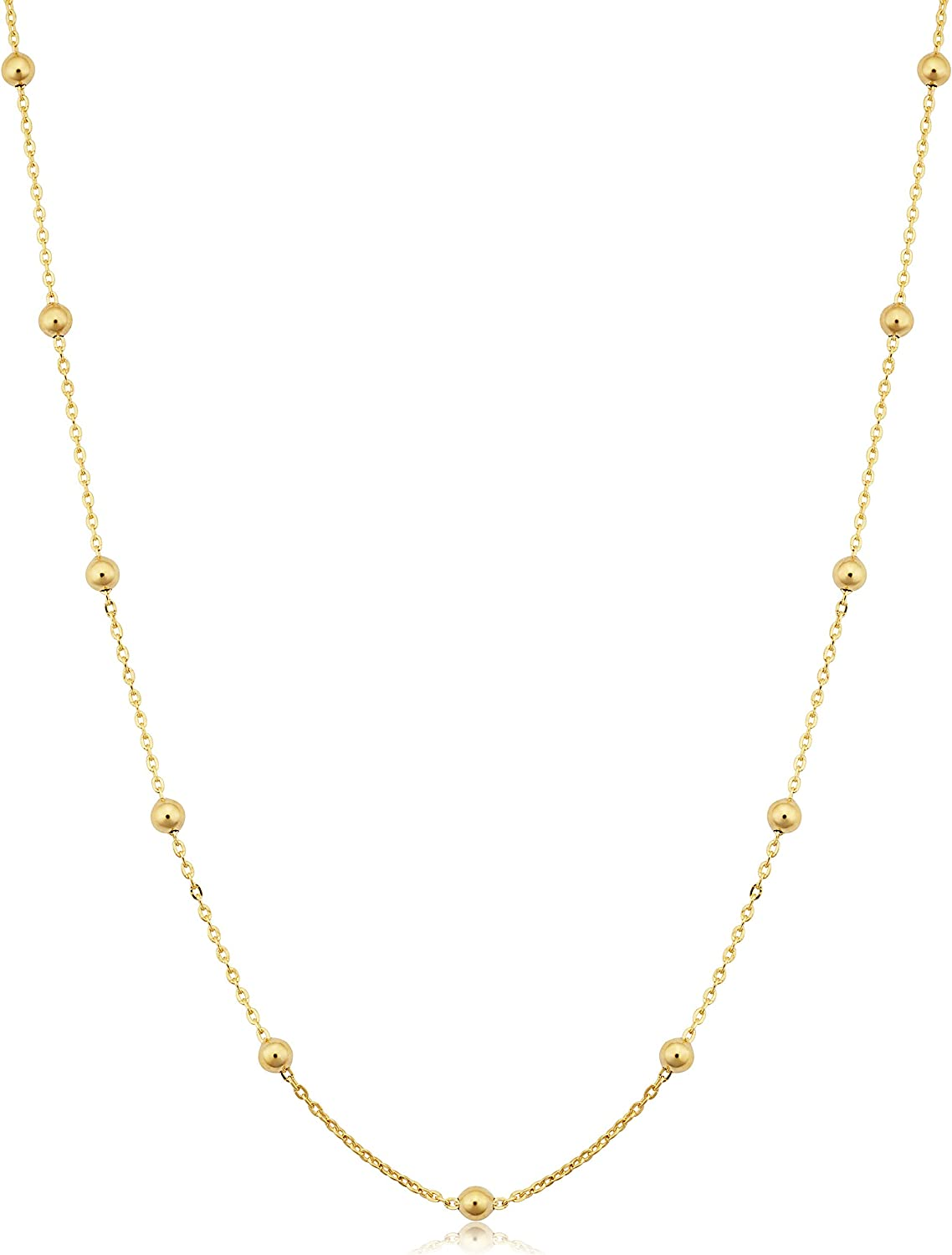 14k Yellow Gold Filled 3 mm Ball Station Satellite Necklace for Women (16, 18, 20, 24 or 30 inch)