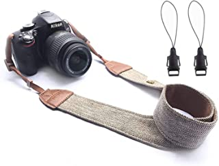 WANBY Camera Soft Shoulder Neck Strap with Free Quick Release Buckles Universal Camcorder Belt Strap Vintage Antislip Strap for Women Men All DSLR SLR Cameras (Brown)