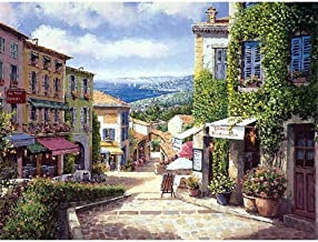 Paint by Numbers Painting Kit Mediterranean Shop Door Artboard for Adult Home Wall Living Room Bedroom Decoration