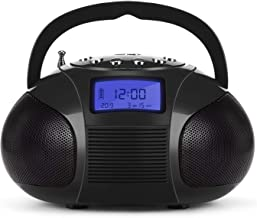 Mini Radio Clock, August Bluetooth Speakers MP3 Stereo System Portable with Powerful Bluetooth Speaker- FM Alarm Clock Radio with Card Reader, USB and AUX in (Micro USB) Black (SE20)