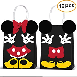 Micky Minnie Party Favor Bags -Micky Minnie Paper Treat Candy Gift Bags for Kids Birthday Micky Minnie Party Supplies -12 ...