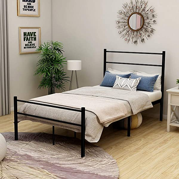 Metal Twin Bed Frame With Headboard Mattress Foundation Box Spring Replacement Steel Slat Support Black