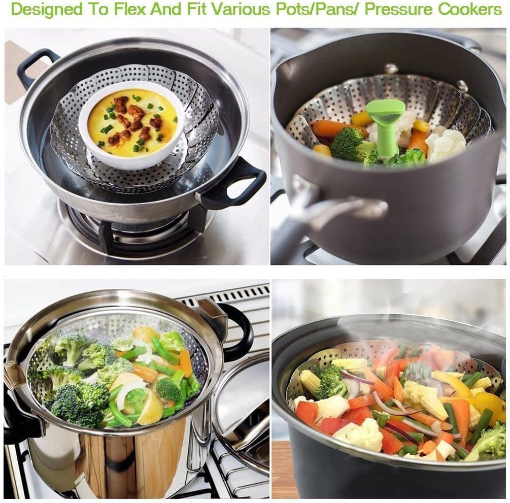 Coque en silicone Vapeur cuiseur vapeur pour plus Sain Nutrition Légumes Légumes avec poignées et Corbeille à fruits Main Red Silver With Lifter