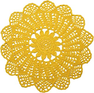 Round Table Placemats Hand Crochet Tablecloth Lace Doillies 13 inches Yellow Cotton Coaster Mat for Dinner Table Decor End Tables Coffe Tables