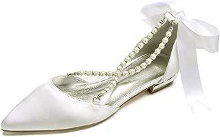 Womens Pointed Toe Cross Strap Pealrs Ribbon Tie Comfort Wedding Bridal Shoes