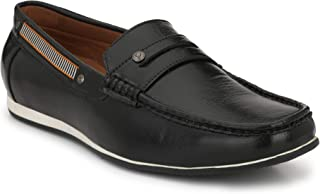 SHENCES MENS BLACK LOAFERS SHOES
