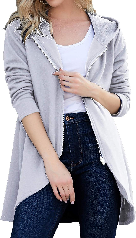 Zeagoo Women's Long Zip Up Hoodie Light Hoo Oversized Beauty products Popular Thin Tunic