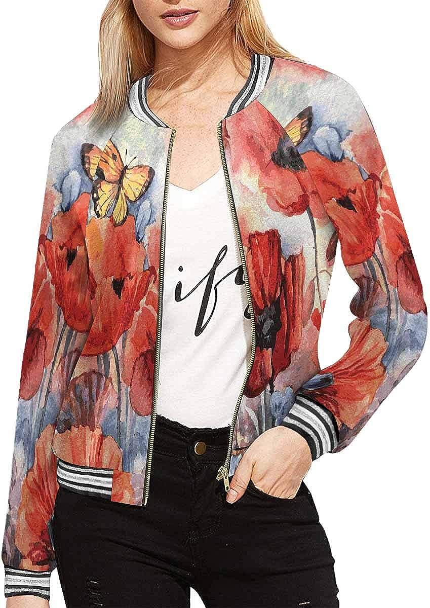 InterestPrint Women's Traditional Cloud Chinese Pattern Long Sleeves Zippered Pockets Jacket