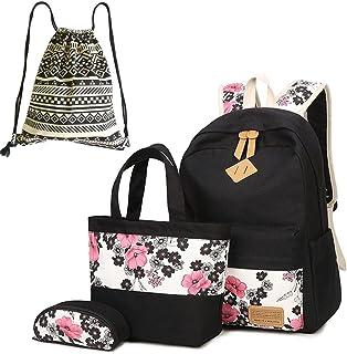 Neuleben Schultaschen 4 Set Schulrucksack  Handtasche  Federmäppchen  Beutel aus Canvas für Damen Mädchen Kinder Schwarz/Rot