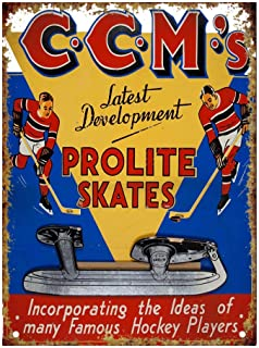 diaolilie CCM Prolite Hockey Skates Tin Wall Sign Retro Iron Painting Vintage Metal Plaque Decoration Warning Poster for Bar Cafe Store Home Garage