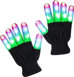 Derrysun LED Gloves LED Finger Light Gloves Light Up Flashing Halloween Costume Clubbing Birthday Party Novelty Light Up Toys for Boys and Girls Best Christmas Stocking Stuffer for Kids(Ages 13-25)